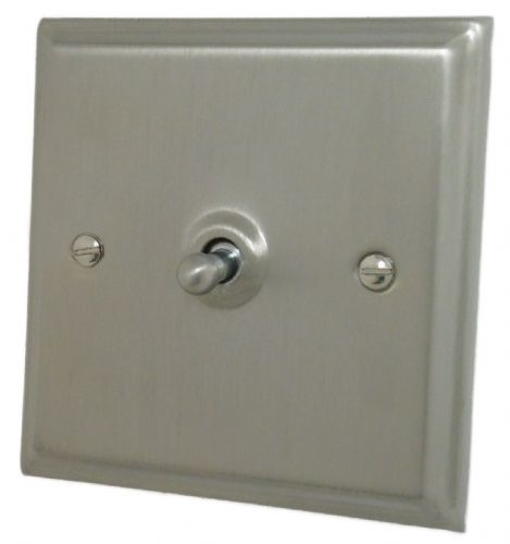 G&H DSN281 Deco Plate Satin Nickel 1 Gang 1 or 2 Way Toggle Light Switch